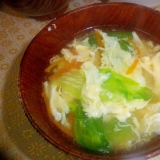 レタスと人参の卵のコンソメスープ