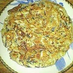 残ったヒジキ大豆煮で 栄養たっぷりお好み焼きです♪