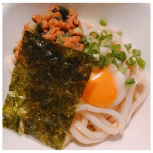 韓国のり納豆×釜玉うどん♪