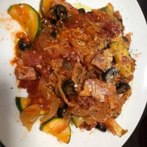 化学調味料不使用生パスタズッキーニとトマトソース
