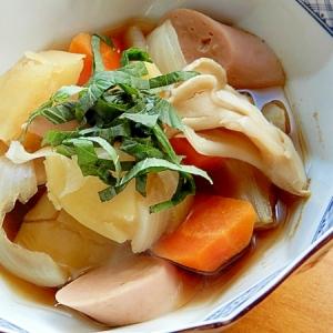 魚嫌いでも❤ヘルシーな魚肉ソ&キノコ&根菜の煮物♪