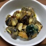 サザエのニンニクオリーブ炒め