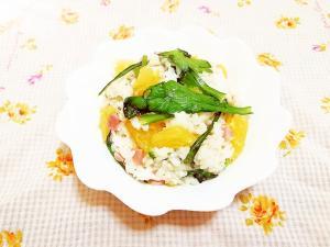 オリーブ風味♪八朔と春菊の混ぜ御飯