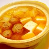 ひとり鍋✿豚肉団子でほんのり辛い味噌味鍋