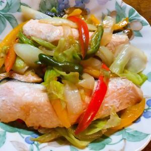 パプリカで鮭のちゃんちゃん焼き
