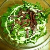 カリカリベーコンと水菜とキャベツのサラダ