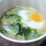 とろ~り半熟卵が簡単にできちゃう♪わかめスープ