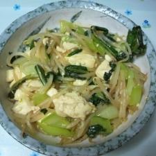 チンゲン菜と豆腐とモヤシのあっさり炒め