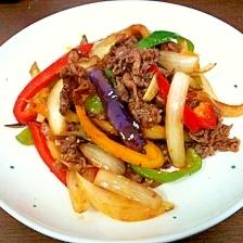 Chinese☆牛肉とカラフル野菜のピリ辛炒め