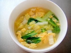 小松菜と白菜の卵スープ