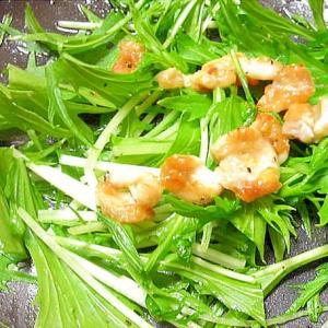 おつまみに♡鶏皮乗せ水菜のサラダ風