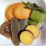 蕗、わらび、こんにゃく、さつま揚げ、さつま芋の煮物