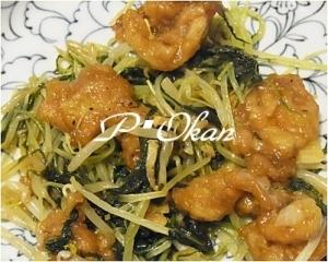 水菜とカリカリ豚炒め