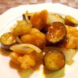 茄子と鶏肉の甘酢あん炒め