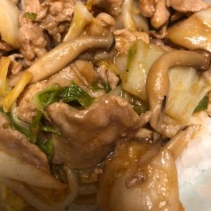 白菜と豚肉の味噌丼