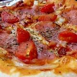 生ハムとオニオントマトpizza*