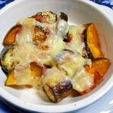 旬の野菜で・・・茄子とかぼちゃのチーズ焼き
