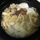ひとりメニュー:鍋/白だしつゆの鶏鍋
