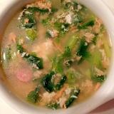 ナスとロメインレタスとソーセージの卵スープ