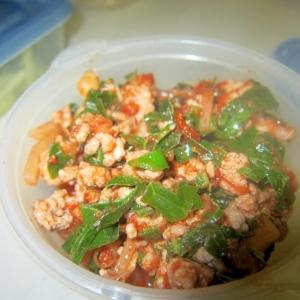 豚挽肉と新玉葱水菜フライパングリル