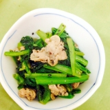 豚肉と小松菜のごま炒め