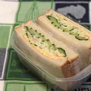 玉子焼きとポテトサラダときゅうりのサンドイッチ♪