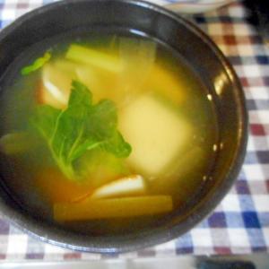 カマボコとターサイのお餅入りスープ