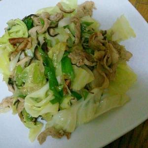 豚肉とキャベツと長ネギと椎茸の中華炒め