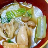 冬野菜と4種のきのこの味噌汁