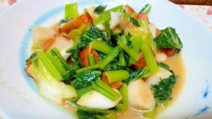 冷凍ホタテと小松菜のニンニク醤油炒め♪