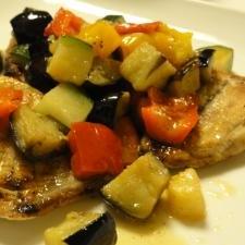 焼きサバとイタリアン野菜炒め