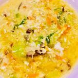 チンゲンサイと椎茸の卵とじスープ
