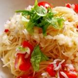 めんつゆで簡単!しらすとミニトマトの冷たいパスタ