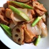 厚揚げと野菜の明太子炒め