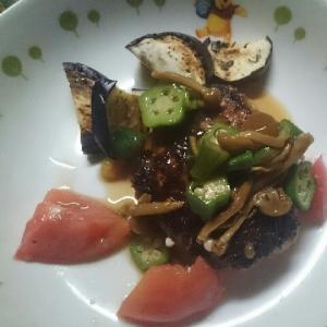 夏野菜たっぷりのハンバーグソース