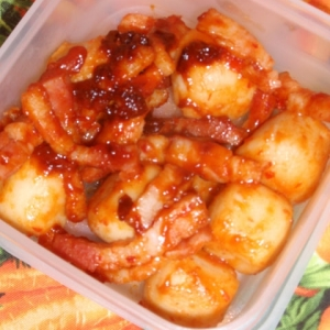 里芋とベーコンのピリ辛炒め