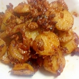 ジャガイモのひき肉玉ねぎ炒め