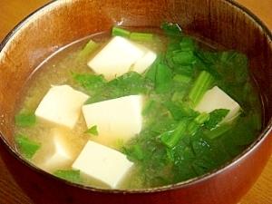 我が家の味噌汁★豆腐とほうれん草