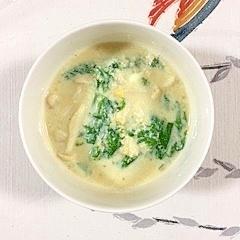 わさび菜とブナピーのスープ