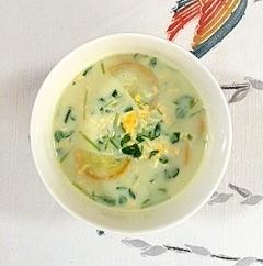 豆苗とズッキーニの豆乳スープ