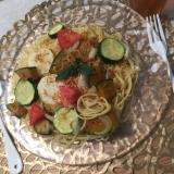 夏野菜と桜海老のペペロンチーノ