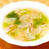 大根と白菜とベーコンのスープ