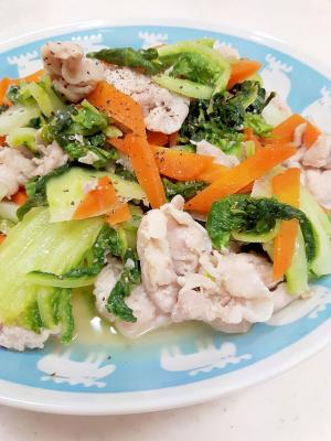 簡単ヘルシー(^^)豚肉+白菜+人参の塩麹炒め♪