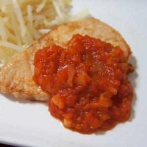 カジキのソテー トマトソースをかけて