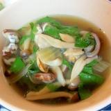 シソとしめじとアサリのスープ