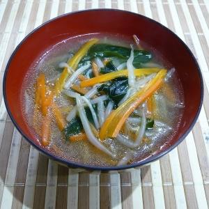 もやしと人参の中華スープ