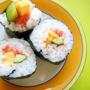 梅明太子と卵きゅうりの巻き寿司