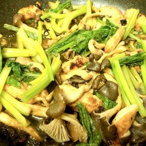 鶏と小松菜のきのこ炒め