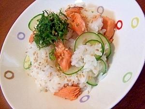 塩麹焼き鮭と胡瓜のちらし寿司☆