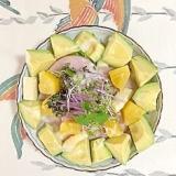 水菜、ロースハム、ホワイトアスパラ、パインのサラダ